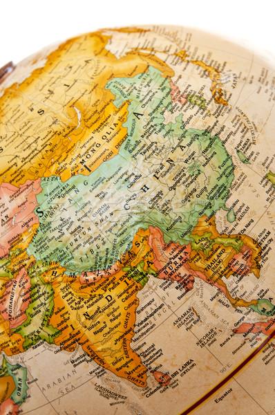 Földgömb Ázsia térkép világ óceán bolygó Stock fotó © elenaphoto
