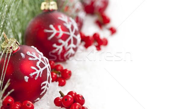 Сток-фото: красный · Рождества · украшения · границе · украшения · соснового