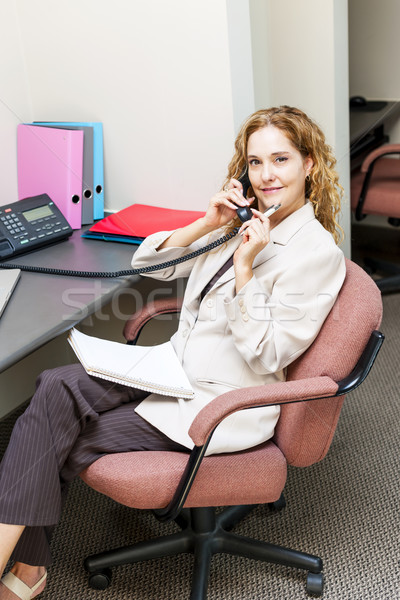 Işkadını telefon iş kadını telefon Stok fotoğraf © elenaphoto