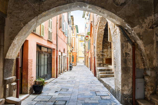 Old street in Villefranche-sur-Mer Stock photo © elenaphoto