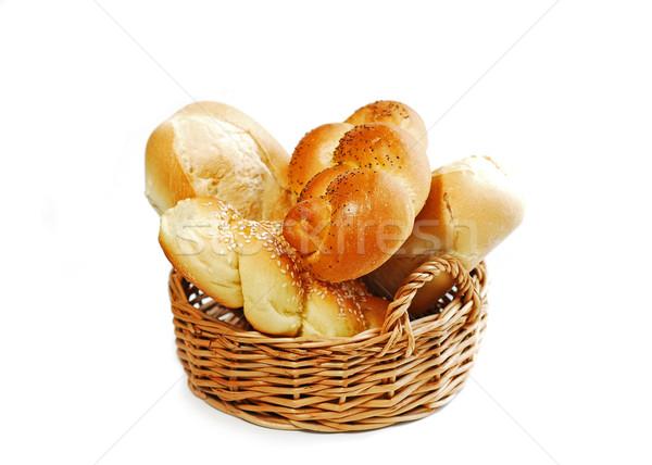 Bread basket on white Stock photo © elenaphoto