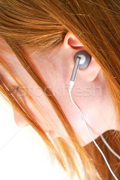 Stockfoto: Meisje · luisteren · muziek · jong · meisje · luisteren · naar · muziek · mp3-speler