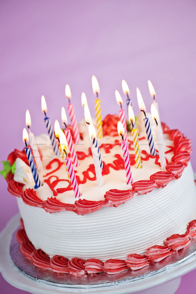 Birthday cake with lit candles Stock photo © elenaphoto
