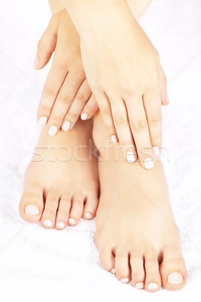 Female feet and hands Stock photo © elenaphoto