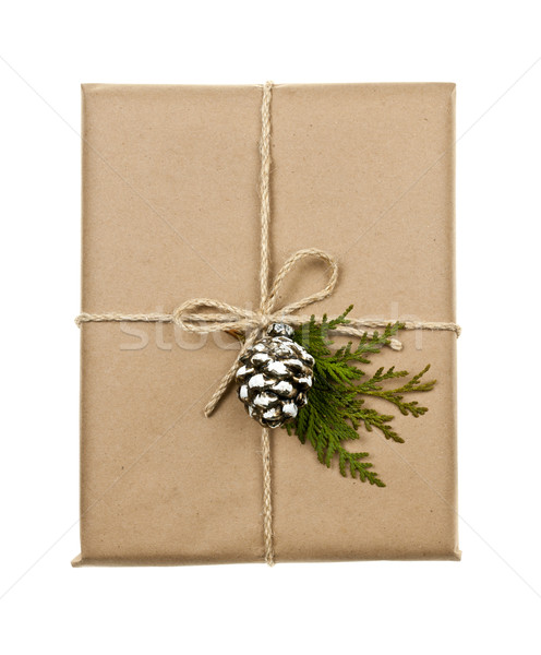 Christmas present in brown paper tied with string Stock photo © elenaphoto