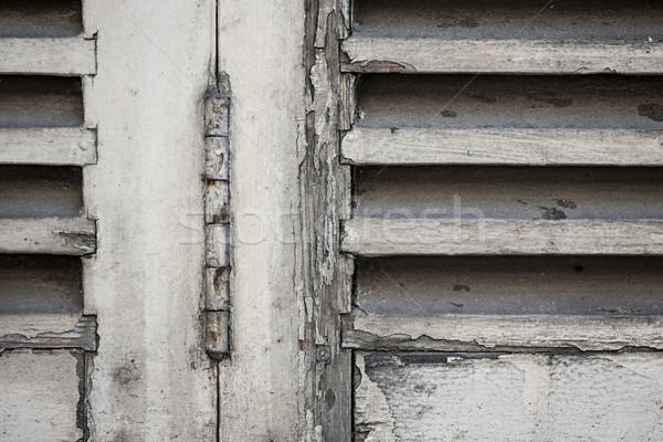 старые жалюзи подробность закрыто окна Сток-фото © elenaphoto