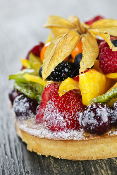 Gemengd tropische vruchten taart vers dessert vruchten Stockfoto © elenaphoto