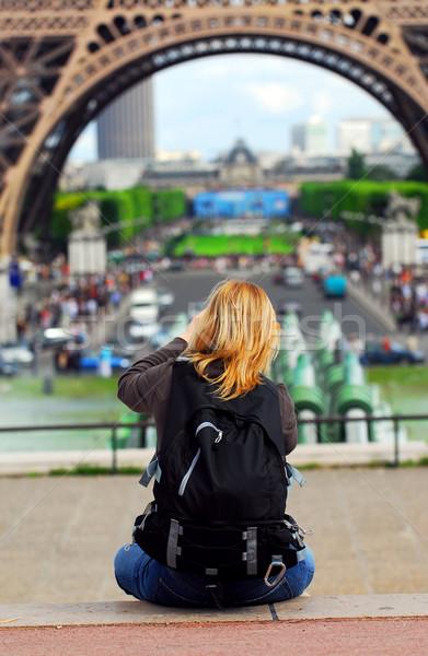Tourist at Eiffel tower Stock photo © elenaphoto
