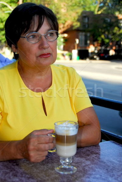 Mature woman coffee Stock photo © elenaphoto