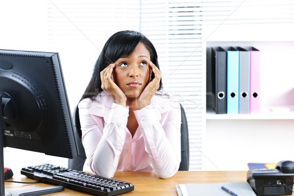 Entediado preto empresária escritório infeliz jovem Foto stock © elenaphoto