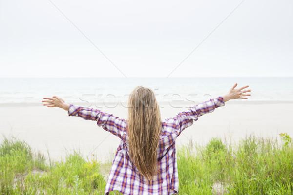 Сток-фото: пляж · вид · сзади · долго · волос