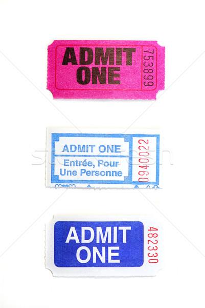 Verloten tickets drie geïsoleerd witte Stockfoto © elenaphoto