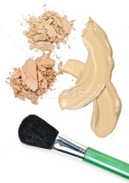Powder and foundation makeup with brush Stock photo © elenaphoto