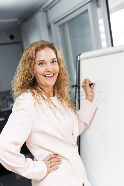 Business woman writing on flip chart Stock photo © elenaphoto