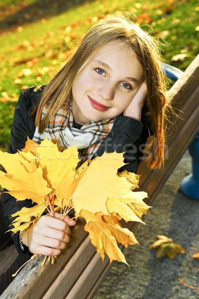 Photo stock: Adolescente · automne · portrait · belle · parc · enfants