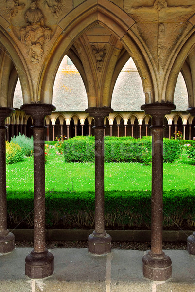 Mont Saint Michel cloister garden Stock photo © elenaphoto
