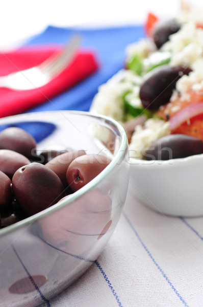 Olives and greek salad Stock photo © elenaphoto
