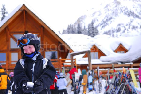 Child at downhill skiing resort Stock photo © elenaphoto