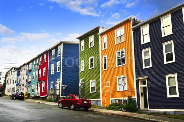 Colorido casas rua Canadá nuvens Foto stock © elenaphoto