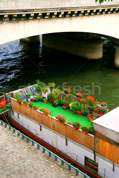 Houseboat in Paris Stock photo © elenaphoto