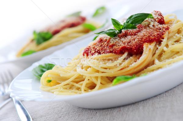 Stock foto: Pasta · Tomatensauce · Basilikum · Abendessen · Essen · Tomaten