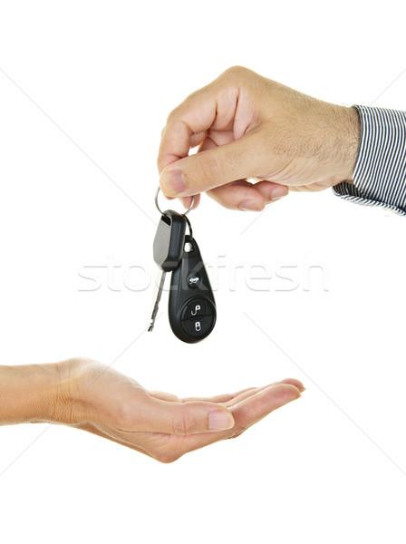 Slusszkulcs férfi kéz női kezek férfi Stock fotó © elenaphoto