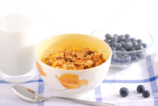 Сток-фото: здорового · завтрак · сухих · завтраков · молоко · черника · служивший
