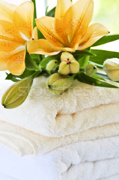 Stack of towels with flowers Stock photo © elenaphoto