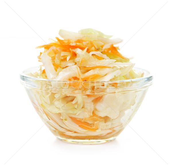 чаши капустный салат стекла белый продовольствие фон Сток-фото © elenaphoto