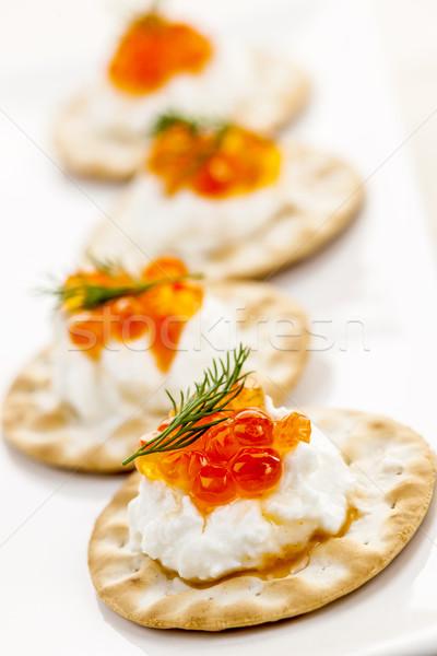 ストックフォト: キャビア · 前菜 · クローズアップ · クリーム · チーズ · 前菜
