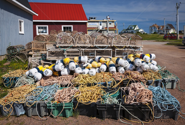 Lobster traps, floats and rope Stock photo © elenaphoto