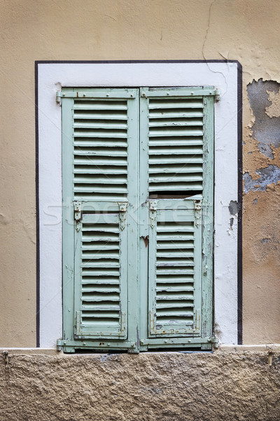 Francese finestra vecchio Windows blu Foto d'archivio © elenaphoto