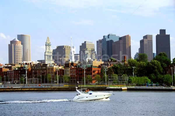 Boston linha do horizonte lancha porto ensolarado verão Foto stock © elenaphoto
