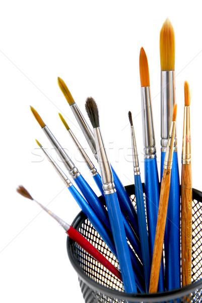 Paintbrushes holder Stock photo © elenaphoto