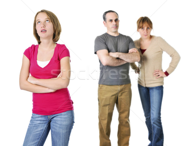Teenage girl in trouble with parents Stock photo © elenaphoto