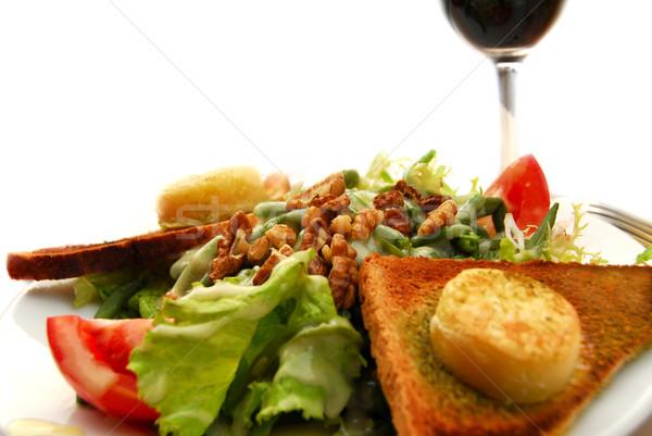 Egészséges ebéd zöld saláta pirítós kecskesajt Stock fotó © elenaphoto