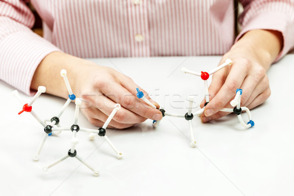 Student assembling molecule models Stock photo © elenaphoto
