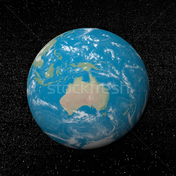 Óceánia Föld 3d render univerzum csillagok víz Stock fotó © Elenarts