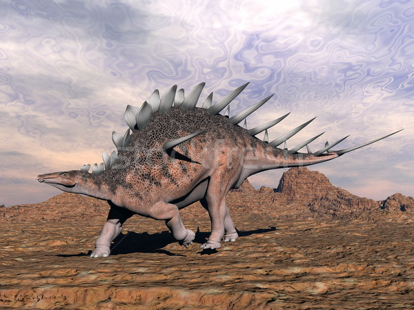 Kentrosaurus dinosaur in the desert - 3D render Stock photo © Elenarts