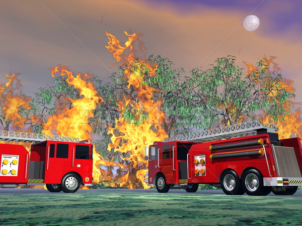 Fire trucks in action - 3D render Stock photo © Elenarts