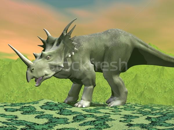 Styracosaurus dinosaur - 3D render Stock photo © Elenarts