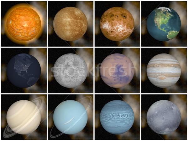 Sistema solar planetas 3d render sol terra lua Foto stock © Elenarts