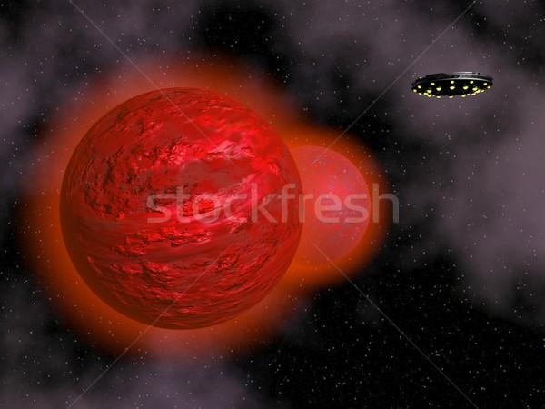 űrhajó piros bolygó 3d render repülés bolygók Stock fotó © Elenarts