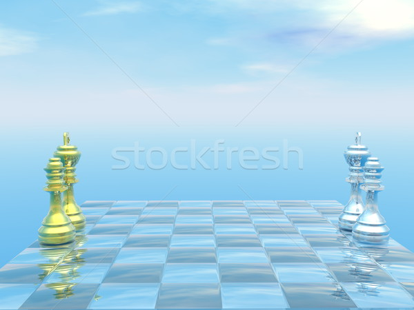 Chessboard with kings and queens - 3D render Stock photo © Elenarts