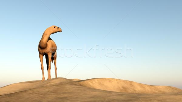 Deve bakıyor arkasında 3d render ayakta Stok fotoğraf © Elenarts