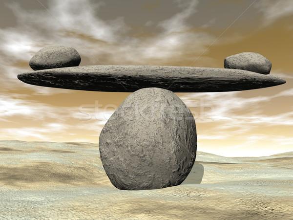 Kiegyensúlyozott kövek 3d render tengerparti homok barna naplemente Stock fotó © Elenarts