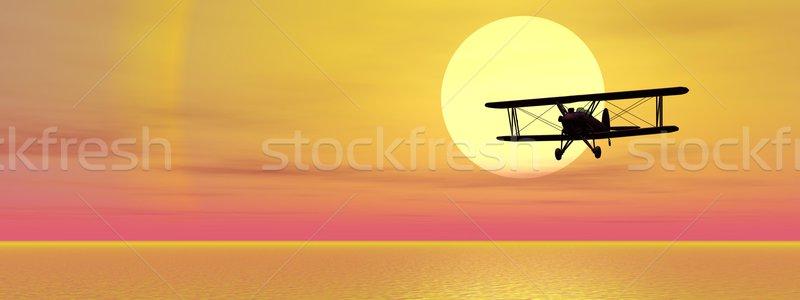 океана старые Flying воды закат морем Сток-фото © Elenarts