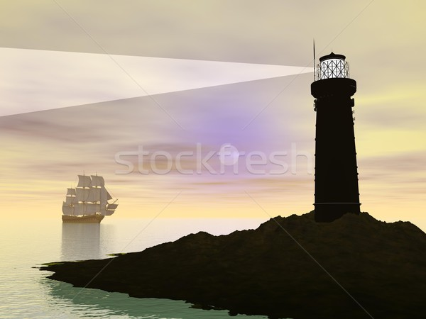 Guided old ship - 3D render Stock photo © Elenarts