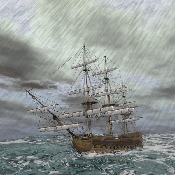 Oude schip storm 3d render verloren Stockfoto © Elenarts