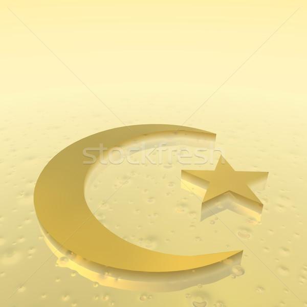 Islam simbolo rendering 3d mezzaluna star religione Foto d'archivio © Elenarts